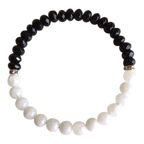 Grounding & Balancing Thoughts - Moonstone & Faceted Black Onyx Bracelet