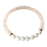 Grounding Love - Round White Agate & Faceted Rose Quartz Sterling Silver Bracelet