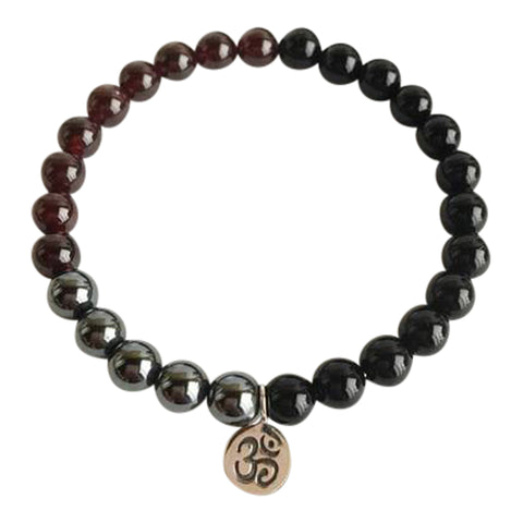 Grounding & Protection - Black Onyx, Garnet & Hematite Sterling Silver Bracelet
