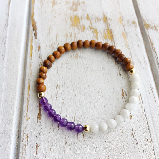 HEALING THE SOUL ~ Genuine Amethyst, Moonstone & Rosewood Bracelet w/ Gold-Filled Accents - A Peace of Mind Jewelry & Boutique