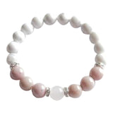 Help to Release Anger - Genuine Rhodonite, White Howlite & Rose Quartz Sterling Silver Bracelet