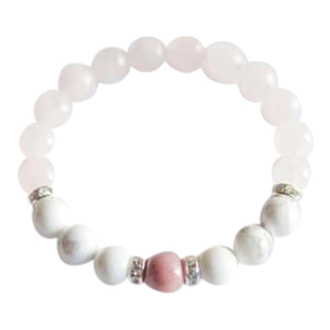 Help to Release Anger - Rhodonite, White Howlite & Rose Quartz Sterling Silver Bracelet