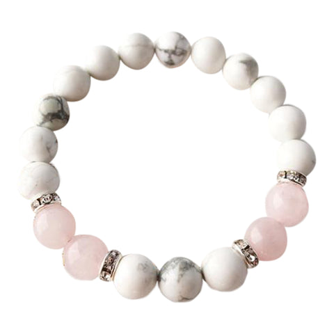 Help to Release Anger - White Howlite & Rose Quartz Sterling Silver Bracelet