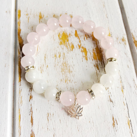 Love & Compassion ~ Genuine Moonstone & Rose Quartz Bracelet w/ Swarovski Crystal Accents - A Peace of Mind Jewelry & Boutique