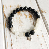 Genuine Black Onyx & Moonstone Bracelet - Balancing Emotions - A Peace of Mind Jewelry & Boutique