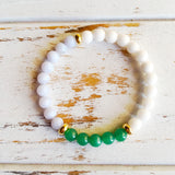 Increase Love, Luck & Patience ~ Genuine Blue Lace Agate, White Agate & Aventurine Bracelet w/ Gold Filled Accents - A Peace of Mind Jewelry & Boutique