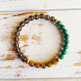 Increase Protection, Luck & Abundance ~ Genuine Malachite, Tiger Eye & Smokey Quartz Bracelet w/ Gold Filled Accents - A Peace of Mind Jewelry & Boutique