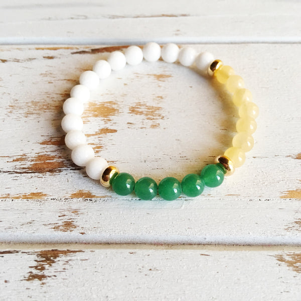 Lucky in Love & Success ~ Genuine Aventurine, White Agate & Yellow Calcite Bracelet w/ Gold Filled Accents - A Peace of Mind Jewelry & Boutique