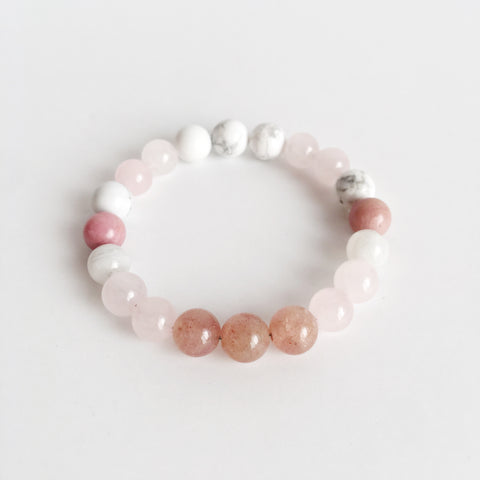 Fertility Mix ~ Genuine Moonstone, Muscovite, Rhodonite, Rose Quartz & White Howlite Bracelet - A Peace of Mind Jewelry & Boutique