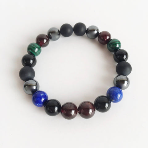 Business Boost ~ Genuine Black Onyx, Garnet, Hematite, Lapis Lazuli & Malachite Bracelet - A Peace of Mind Jewelry & Boutique