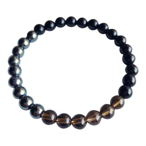 I Am Completely Grounded & Confident - Black Onyx, Hematite & Smoky Quartz Bracelet