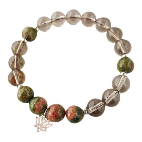 I Am Emotionally Balanced & Grounded - Unakite and Smokey Quartz Sterling Silver Bracelet
