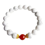 I Am Peaceful & Full of Energy - White Howlite & Carnelian Sterling Silver Bracelet