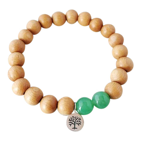 I Attract Abundance and Success - Aventurine & Sandalwood Sterling Silver Bracelet