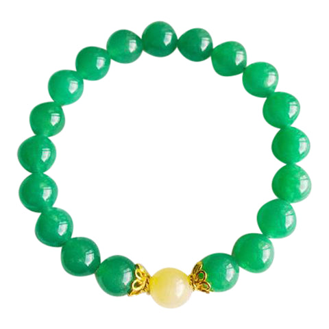 I Attract Luck & Prosperity - Aventurine & Yellow Calcite Vermeil Bracelet