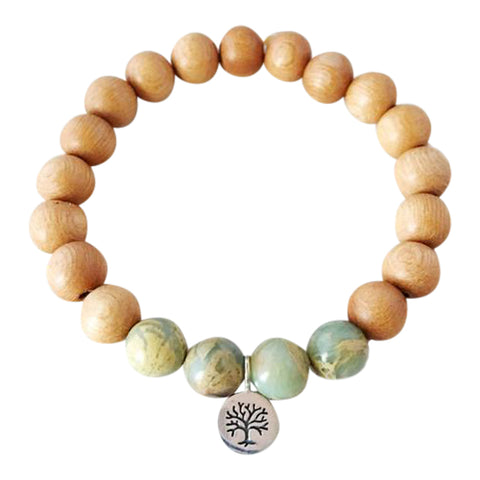 I Attract Peace - Aqua Terra Jasper & Sandalwood Bracelet w/ Tree of Life Charm