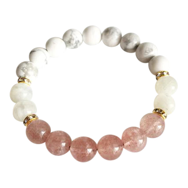 I Bring Calm & Loving Energy to Myself and Those Around Me - Genuine Moonstone, Muscovite and White Howlite Gold Plated Bracelet
