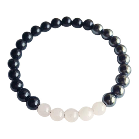I Do Not Fear Your Negativity, I've Got Love & Confidence - Black Onyx, Hematite & Rose Quartz Bracelet