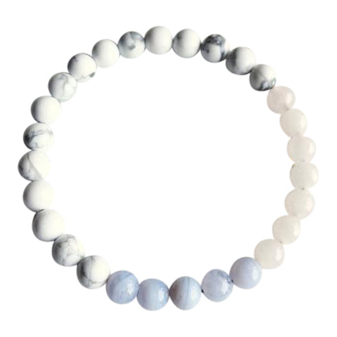 I Express my Creativity with Love & Compassion - Rose Quartz, Blue Lace Agate & White Howlite Bracelet