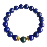 I Relieve Myself of Stress & Anxiety - Bloodstone & Lapis Lazuli Vermeil Bracelet