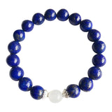I Relieve Myself of Stress & Anxiety - Rainbow Moonstone & Lapis Lazuli Sterling Silver Bracelet