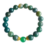 I am Balanced and Opening Myself Up to Luck - Aventurine & Moss Agate Vermeil Bracelet