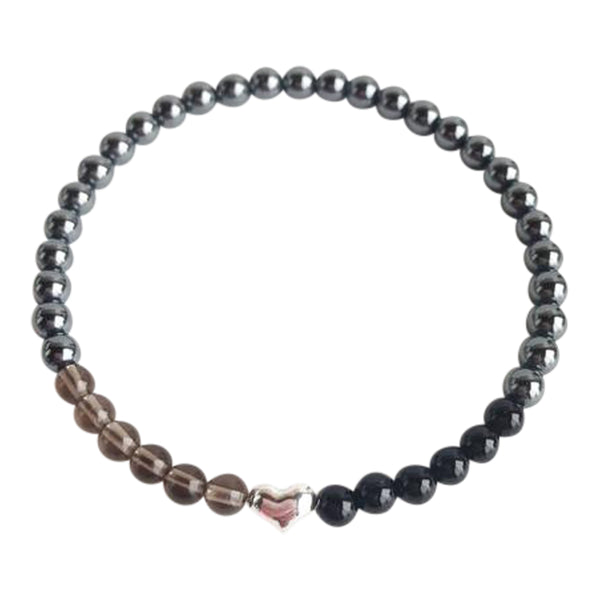 I am Centered & Grounded - Black Onyx, Hematite and Smoky Quartz Sterling Silver Bracelet