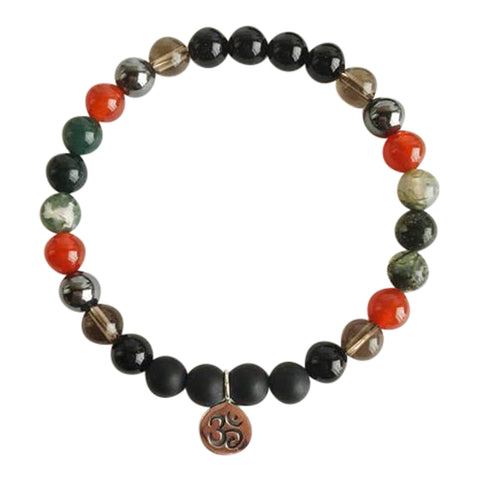 I am Free from Depression - Black Onyx, smoky Quartz, Carnelian, and Moss Agate Sterling Silver Bracelet