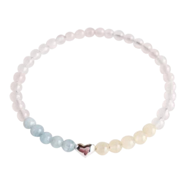 I am Love, I am Energy - Aquamarine, Rose Quartz and Yellow Calcite Sterling Silver Bracelet