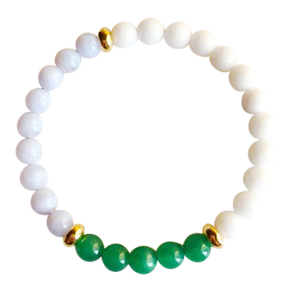 Increase Love, Luck & Patience - Blue Lace Agate, White Agate & Aventurine Gold Filled Bracelet