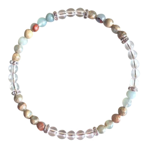 Inner Peace & Meditation ~ Genuine Colorful Aqua Terra Jasper & Crystal Quartz Sterling Silver Bracelet
