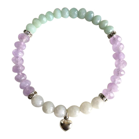 Intuition - Round Moonstone & Faceted Amazonite and Cape Amethyst Sterling Silver Bracelet