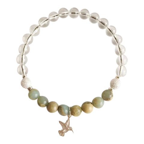 Joy & Tranquility - Crystal Quartz and Aqua Terra Jasper Sterling Silver Bracelet