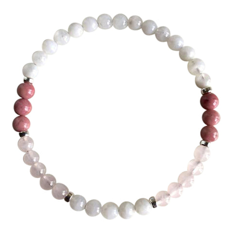 Love - Moonstone, Rhodonite & Rose Quartz Sterling Silver Bracelet