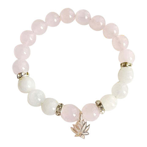 Love & Compassion - Moonstone & Rose Quartz Sterling Silver Bracelet