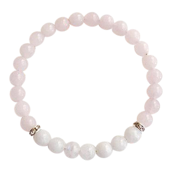 Love & Positivity - Moonstone & Rose Quartz Sterling Silver Bracelet