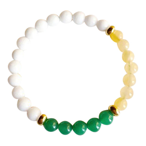 Lucky in Love & Success - Aventurine, White Agate & Yellow Calcite Gold Filled Bracelet