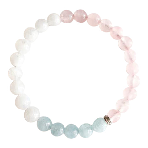 My Inner Peace is Invincible - Aquamarine, Moonstone and Rose Quartz Sterling Silver Bracelet