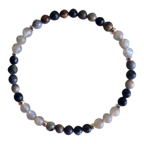 Opening Up to Happiness - Genuine Labradorite & Ocean Jasper Sterling Silver Bracelet