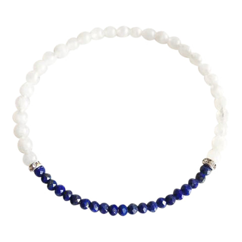Patience and Concentration - Lapis Lazuli & Moonstone Sterling Silver Bracelet