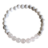 Peace & Love - Rose Quartz & White Howlite Sterling Silver Bracelet