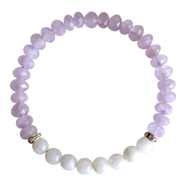 Peace of Mind - Moonstone & Faceted Cape Amethyst Sterling Silver Bracelet