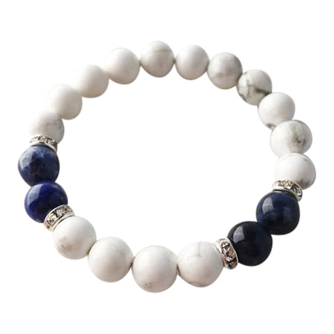 Peaceful Communication - White Howlite & Sodalite Sterling Silver Bracelet