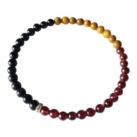 Power, Energy & Protection - Black Onyx, Garnet & Yellow Jasper Sterling Silver Bracelet