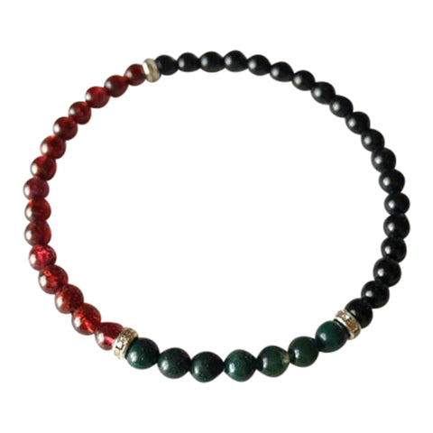 Power, Energy & Protection - Garnet, Bloodstone and Black Onyx Sterling Silver Bracelet
