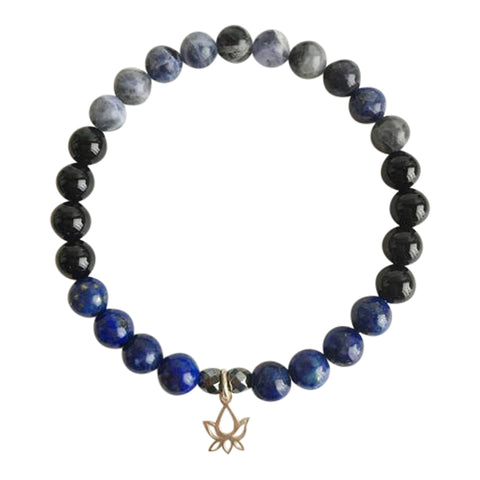 Self-Confidence & Protection - Black Onyx, Hematite, Lapis Lazuli and Sodalite Sterling Silver Bracelet
