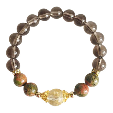Self-Esteem Boost - Citrine, Smoky Quartz and Unakite Gold Filled Bracelet