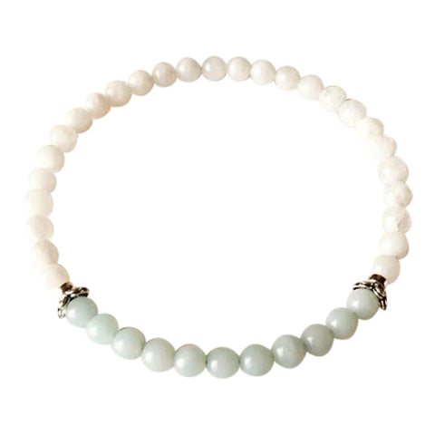 Self-Worth & Good Luck - Amazonite and White Moonstone Sterling Silver Bracelet