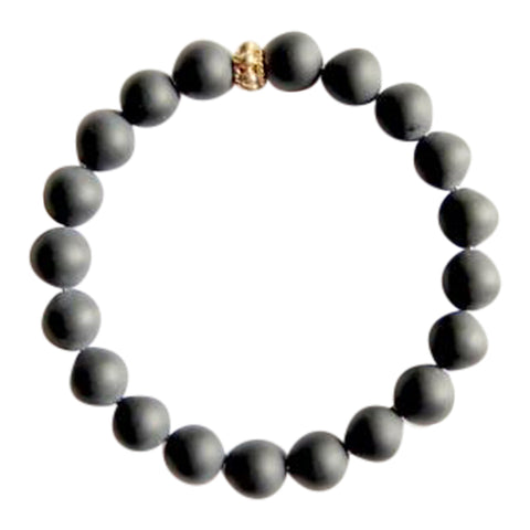 Self Confidence - Matte Black Onyx Bracelet with a Gold Filled Accent