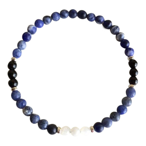 Strength & Grounding - Genuine Moonstone, Sodalite & Black Tourmaline Sterling Silver Bracelet